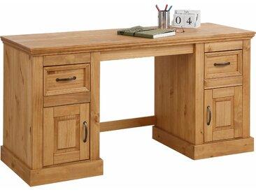 Home affaire Schreibtisch Selma Tischplatte: Massivholz, Gestell: Massivholz beige Schreibtische Bürotische und Büromöbel Tisch