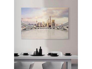 queence Acrylglasbild Stadt 120x80 cm weiß Acrylglasbilder Bilder Bilderrahmen Wohnaccessoires