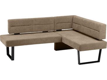 SCHÖSSWENDER Eckbank Martina, modernes Design, Gestell aus massivem Metall Polyester, langer Schenkel links, 155cm braun Eckbänke Sitzbänke Stühle