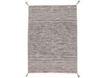 carpetfine Teppich Kelim Azizi, rechteckig, 5 mm Höhe, reine Baumwolle mit Fransen, Wohnzimmer 5, 160x230 cm, beige Teppiche