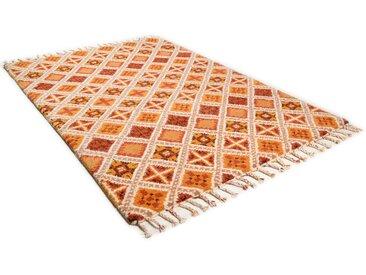 THEKO Wollteppich Marmoucha, rechteckig, 24 mm Höhe, reine Wolle, echter Berber, handgeknüpft, mit Fransen, Wohnzimmer 90x160 cm, braun Teppiche