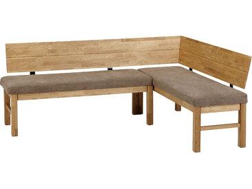 SCHÖSSWENDER Eckbank Lorenzo, modernes Design, Gestell aus Massivholz B/H/T: 155 cm x 83,5 194 cm, Polyester, langer Schenkel links braun Eckbänke Sitzbänke Stühle