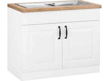 wiho Küchen Spülenschrank Erla, 100 cm breit mit Kassettenfront x 85 60 (B H T) cm, 2-türig weiß Spülenschränke Küchenschränke Küchenmöbel Schränke