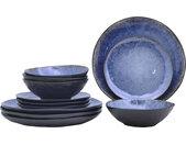 andas Tafelservice Arnhem, (Set, 12 tlg.), lebendige Reaktionsglasur, jedes Stück ein Unikat Einheitsgröße blau Geschirr-Sets Geschirr, Porzellan Tischaccessoires Haushaltswaren