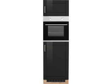 HELD MÖBEL Backofenumbauschrank Tinnum, 60 cm breit, 200 hoch, Metallgriffe, MDF Fronten, für autarken Backofen B/H/T: x schwarz Umbauschränke Küchenschränke Küchenmöbel