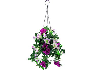 Kunstpflanze Hängeampel Petunien (1 Stück) 0, 30x30x50 cm lila Kunstranken Kunstpflanzen Wohnaccessoires