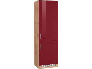 HELD MÖBEL Kühlumbauschrank Tinnum, 60 cm breit, 200 hoch, Metallgriffe, MDF Fronten, für Einbau-Kühlgefrierkombination mit Nischenmaß 178 x (B H T) rot Umbauschränke Küchenschränke Küchenmöbel Schränke