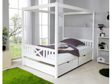 Ticaa Himmelbett Lino 140x200 cm, Mit Schubkästen »Melanie« weiß Kinder Kinderbetten Kindermöbel Betten