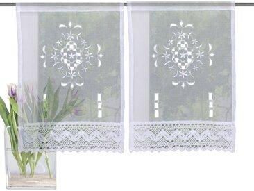 HOME WOHNIDEEN Scheibengardine ALEGRA 30 cm, Stangendurchzug, 45 cm weiß Wohnzimmergardinen Gardinen nach Räumen Vorhänge
