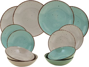 ARTE VIVA Tafelservice Puro (12-tlg.), Steinzeug TOPSELLER Einheitsgröße blau Geschirr-Sets Geschirr, Porzellan Tischaccessoires Haushaltswaren