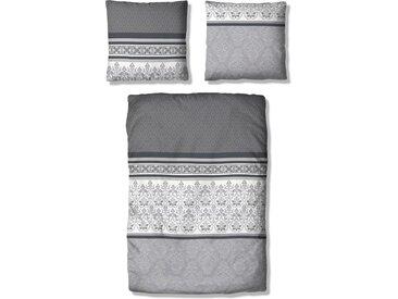 Home affaire Bettwäsche Cremona, im romantischen Mustermix 1x 155x220 cm, 80x80 Polycotton grau Bettwäsche-Sets Bettwäsche, Bettlaken und Betttücher