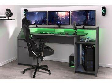 Parisot Gamingtisch Set-Up B/H/T: 180 cm x 92 68 grau Computertische Bürotische und Schreibtische Büromöbel Gaming-Tisch