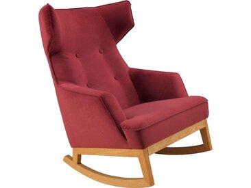TOM TAILOR Schaukelstuhl COZY, im Retrolook, mit Kedernaht und Knöpfung, Füße Eiche natur B/H/T: 80 cm x 115 88 cm, Samtstoff TSV rot Weitere Sessel Wohnzimmer