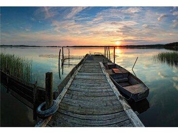 Vliestapete Sunset at the lake 0, Maße (B/H): (384/260 cm) bunt Fototapeten Tapeten Bauen Renovieren