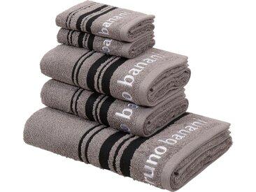 Bruno Banani Handtuch Set Daniel, mit Streifen und Markenlogo 5 tlg. grau Handtücher Badetücher Nachhaltige Heimtextilien