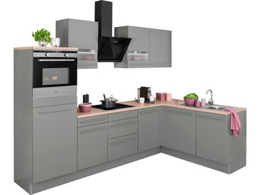 OPTIFIT Winkelküche Bern, mit Hanseatic E-Geräten, Stellbreite 285 x 175 cm Einheitsgröße grau Küchenzeilen Geräten -blöcke Küchenmöbel Arbeitsmöbel-Sets