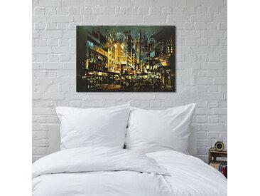 queence Leinwandbild Beleuchtete Stadt 120x80 cm gelb Leinwandbilder Bilder Bilderrahmen Wohnaccessoires