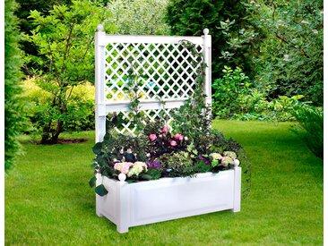 KHW Spalier, mit Pflanzkasten, BxTxH: 100x43x140 cm B/H/T: 100 x 140 43 weiß Spaliere Gartendekoration Gartenmöbel Gartendeko Spalier