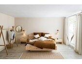 OTTO products Gardine Matts, blickdicht, mit eingewebten Streifen und Knöpfen an den Schlaufen, Bio Baumwolle 245 cm, 140 cm braun Blickdichte Vorhänge Gardinen