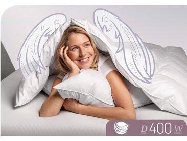 Schlafstil Daunenbettdecke D400, warm, Füllung 90% Daunen, 10% Federn, Bezug 100% Baumwolle, (1 St.), hergestellt in Deutschland, allergikerfreundlich B/L: 155 cm x 220 cm, warm weiß Allergiker Bettdecke Bettdecken Bettdecken, Kopfkissen Unterbetten