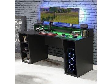 FORTE Gamingtisch Tezaur Mit RGB-Beleuchtung schwarz Computertische Bürotische und Schreibtische Büromöbel Tisch