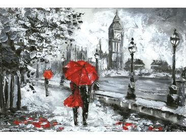 queence Leinwandbild London 120x80 cm rot Leinwandbilder Bilder Bilderrahmen Wohnaccessoires
