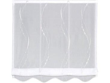 Gerster Raffrollo Kirk, mit Klettband, ohne Bohren, freihängend, Kirk Stickerei-Design 170 cm, 100 cm weiß Wohnzimmergardinen Gardinen nach Räumen Vorhänge