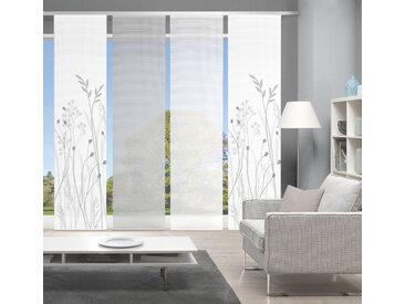 Vision Schiebegardine GRASIL 4er SET, Bambus-Optik, Digital bedruckt 260 cm, Paneelwagen, 60 cm grau Übergardinen Gardinen Vorhänge