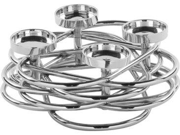 Fink Adventsleuchter Duplex, 4-flammiger Kerzenhalter im eleganten Design H: 8,5 cm silberfarben Kerzen Laternen Wohnaccessoires