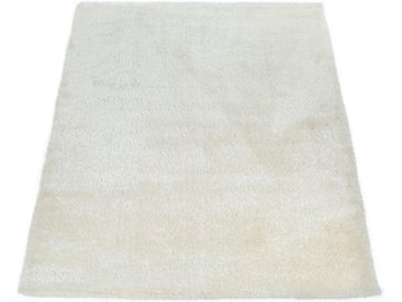 Paco Home Hochflor-Teppich Touch 100, rechteckig, 45 mm Höhe, weicher Uni Shaggy mit Glanz Garn, Wohnzimmer B/L: 240 cm x 340 cm, 1 St. weiß Esszimmerteppiche Teppiche nach Räumen