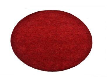 Theko Exklusiv Wollteppich Gabbeh Uni, rund, 15 mm Höhe, reine Wolle, elegante meliertes garn, Wohnzimmer 10 (Ø 190 cm), rot Schlafzimmerteppiche Teppiche nach Räumen