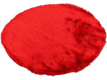 Hochflor-Teppich, Breeze, carpetfine, rund, Höhe 45 mm, handgetuftet (Ø 200 cm), mm rot Shaggy-Teppiche Hochflor-Teppiche Teppiche