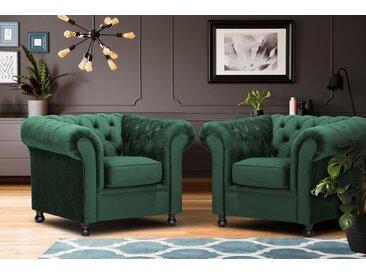 Home affaire Sessel Chesterfield Home, mit edler Knopfheftung und typischen Armlehnen Samtvelours, Samtoptik, B/H/T: 108 cm x 75 90 grün