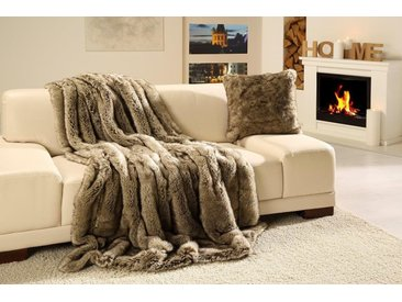 Wohndecke Wolf Felloptik, Gözze 150x200 cm, Kunstfaser grau Kuscheldecken Decken Wohndecken