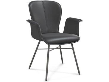 bert plantagie Esszimmerstuhl BLAKE FOUR 632A, mit Armlehne in Leder, Gestell aus Metall anthrazit B/H/T: 69 cm x 91 61 cm, NaturLEDER® Tendens schwarz Esszimmerstühle Stühle Sitzbänke