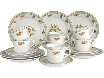 CreaTable Kaffeeservice Cornwall Früchte (18-tlg.), Porzellan Einheitsgröße bunt Geschirr-Sets Geschirr, Tischaccessoires Haushaltswaren
