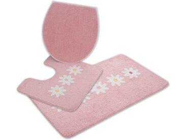 Home affaire Badematte Daisy, Höhe 12 mm, strapazierfähig, besonders weich durch Microfaser 3-tlg. Stand-WC Set, 3 St. rosa Gemusterte Badematten