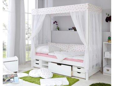 Ticaa Himmelbett Lino Mit Funktionsschubkästen »Marlies«, Liegefläche B/L: 90 cm x 200 cm, Gewicht weiß Kinder Kinderbetten Kindermöbel