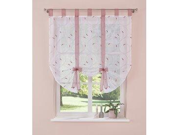 Home affaire Bändchenrollo Clara, mit Schlaufen, Stickerei 140 cm, 100 cm rosa Wohnzimmergardinen Gardinen nach Räumen Vorhänge