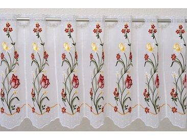 Stickereien Plauen Scheibengardine Tulpe, veredelt mit echter Plauener Spitze Stickerei 40 cm, Durchzuglöcher, 95 cm weiß Wohnzimmergardinen Gardinen nach Räumen Vorhänge