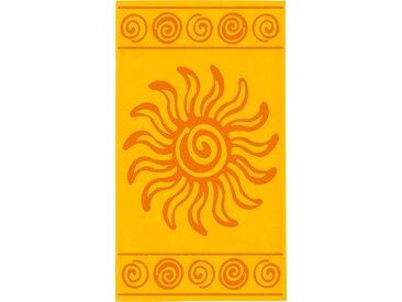 Delindo Lifestyle Strandtuch Tropical Sonne, (1 St.), mit jacquard-gewebtem Motiv 1x 100x180 cm, Jacquard-Velours gelb Handtücher Badetücher