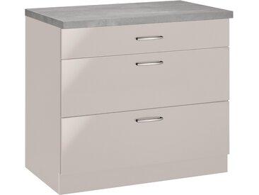 wiho Küchen Unterschrank Brüssel, mit großen Auszügen, Breite 90 cm B/H/T: x 85 60 beige Unterschränke Küchenschränke Küchenmöbel