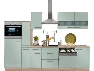 OPTIFIT Küchenzeile Kalmar, mit E-Geräten, Breite 300 cm EEK B Einheitsgröße grün Küchenzeilen Geräten -blöcke Küchenmöbel Arbeitsmöbel-Sets