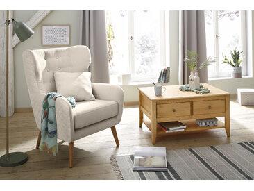Home affaire Ohrensessel Niebüll, mit edler Knopfheftung in der Rückenlehne und Steppung auf Rückseite Struktur beige Sessel