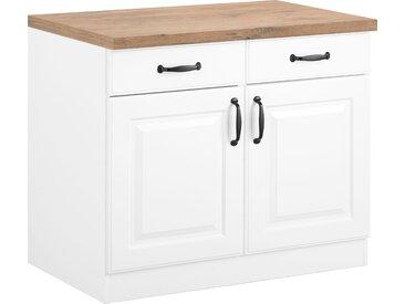 wiho Küchen Unterschrank Erla, 100 cm breit mit Kassettenfront B/H/T: x 85 60 cm, 2 weiß Unterschränke Küchenschränke Küchenmöbel