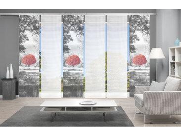 Vision Schiebegardine AMENO 6er SET, Bambus-Optik, Digital bedruckt 260 cm, Paneelwagen, 60 cm rot Wohnzimmergardinen Gardinen nach Räumen Vorhänge
