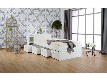 Breckle Stauraumbett, mit ausziehbaren Regalen und Schubkasten Ausf. 2: inkl. Matratze Rollrost, Liegefläche B/L: 120 cm x 200 cm, kein Härtegrad weiß Funktionsbetten Betten Schlafzimmer Stauraumbett