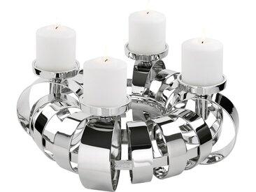 Fink Kerzenhalter ANELLO, 4-flammig, Adventsleuchter H: 18,50 cm silberfarben Kerzen Laternen Wohnaccessoires