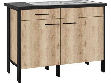 OPTIFIT Spülenschrank Tokio, 118 cm breit, mit Stahlgestell, Vollauszug x 90,8 60 (B H T) cm, 2-türig, Komplettausführung beige Spülenschränke Küchenschränke Küchenmöbel Schränke