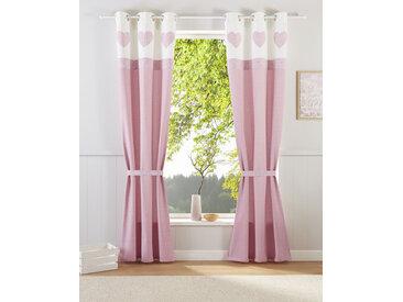 Home affaire Gardine Herz Spitze 145 cm, Ösen, 110 cm rosa Blickdichte Vorhänge Gardinen